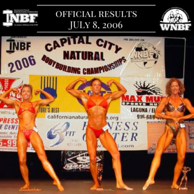 Results 2006 INBF Capital City Natural Championships WNBF Pro Qualifier Sacramento California
