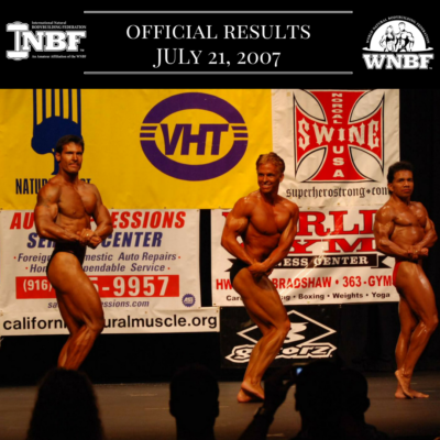 Results 2007 INBF Capital City Natural Championships WNBF Pro Qualifier Bob Porzio WNBF Pro Card Sacramento California