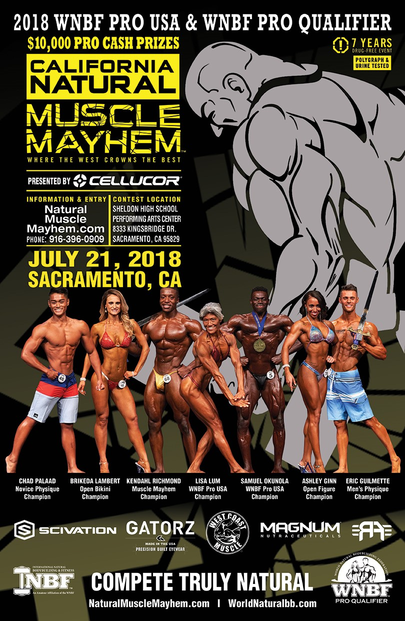 California Natural Muscle Mayhem Event Poster