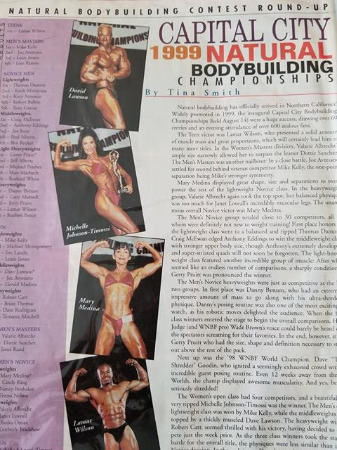 Natural Bodybuilding & Fitness Magazine 1999 Capital City Natural Championships Sacramento Elk Grove Sheldon High School Performing Arts Center