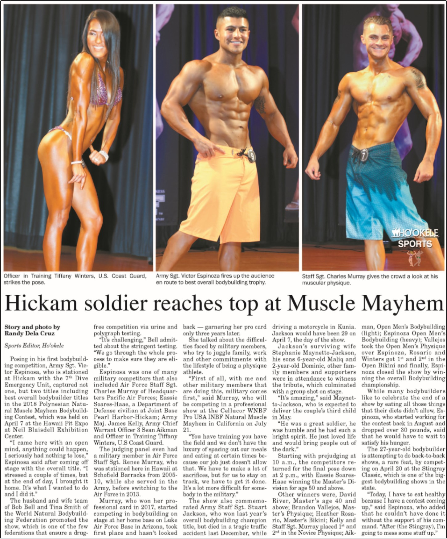 2018 INBF Polynesian Natural Muscle Mayhem Hookele Pearl Harbor Hickam News Paper Coverage