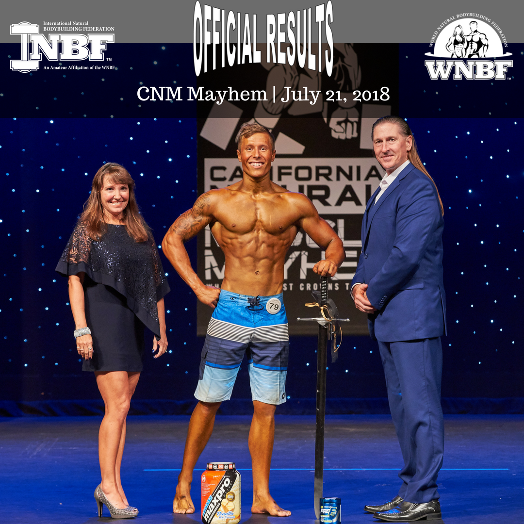 Breton McNeil of Canada Overall Mens Physique Champion 2018 California Natural Muscle Mayhem Sacramento California